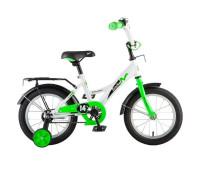 "Велосипед NOVATRACK 14"" STRIKE белый-зелёный, тормоз нож, крылья корот, полная з"