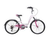 "Велосипед NOVATRACK 24"", BUTTERFLY, сталь.рама 11"", белый-розовый, 6-скор, TY21/"